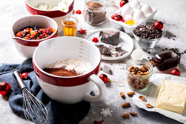Christmas baking background.raditional german cake stollen