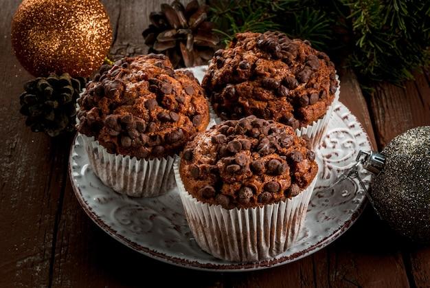 Christmas baking, chocolate muffins
