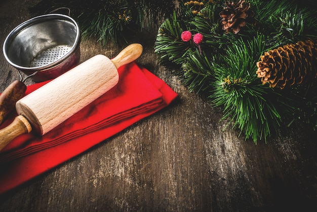 Christmas baking concept with rolling pin