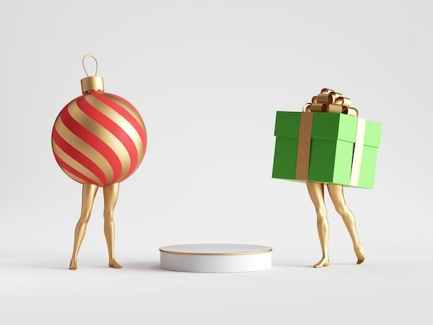 Елочный шар и подарочная коробка возле пустого постамента