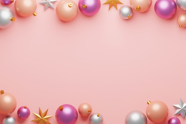 Christmas ball bauble decoration and star on pink background with center copy space