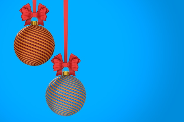 Christmas ball on blue background. isolated 3d illustration