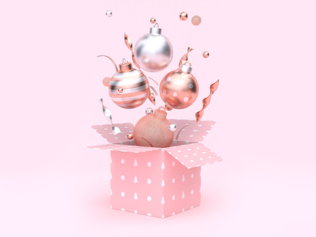 Christmas ball floating gift box opening pink background