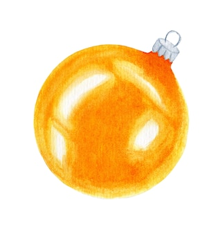 クリスマスツリーを飾るためのクリスマスボール黄色のガラス球の水彩イラスト