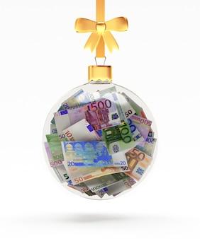 Christmas ball full of euro bills hanging on a ribbon