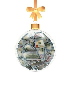 Елочный шар, полный долларовой банкноты, висящей на золотой ленте