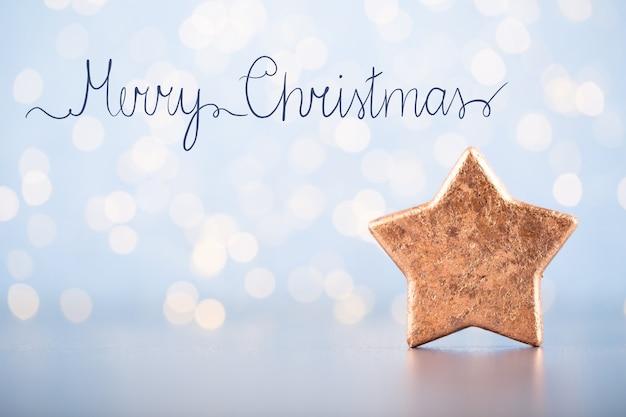 블루 bokeh에 크리스마스 공 인사말 카드 장식
