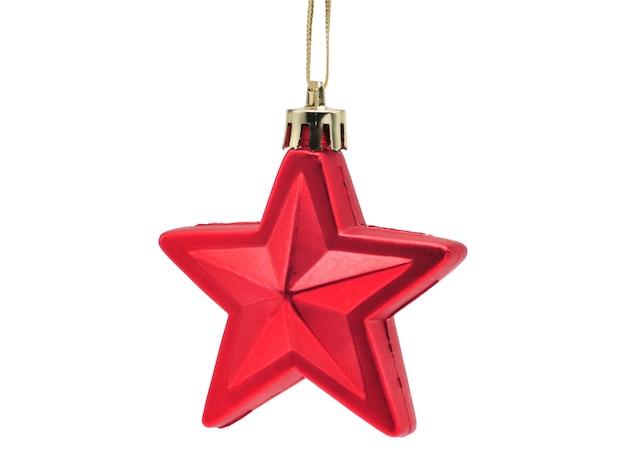 孤立した白い背景の上の五芒星のクリスマスボール