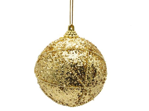 孤立した白い背景の上の黄色の光沢のある色のクリスマスボール