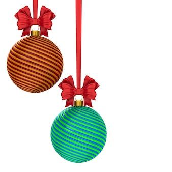白い背景の上のクリスマスボール。分離された3dイラスト