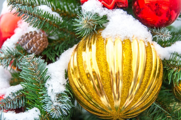 Christmas ball ornaments decoration, christmas balls on branch