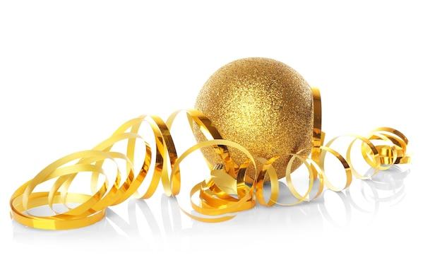 白い表面にストリーマーとクリスマスボール