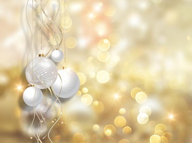 크리스마스 공 및 황금 빛