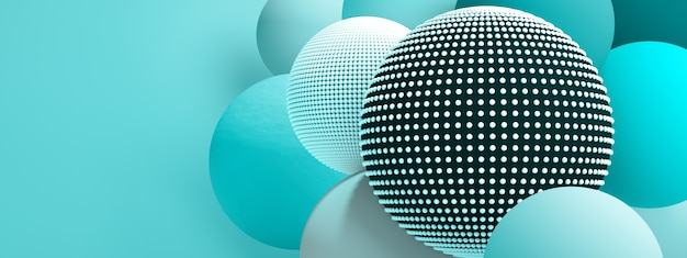 Christmas balls background over azure background, 3d render, panoramic image