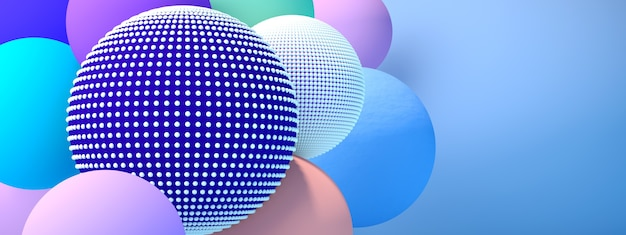 Christmas balls background over blue background, 3d render, panoramic image