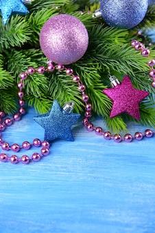Christmas balls on fir tree