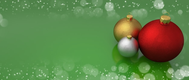 Christmas balls on green greeting card with bokeh frame copy space