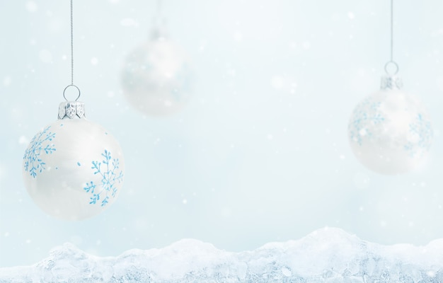 Christmas balls toys with snowflakes on a blue background