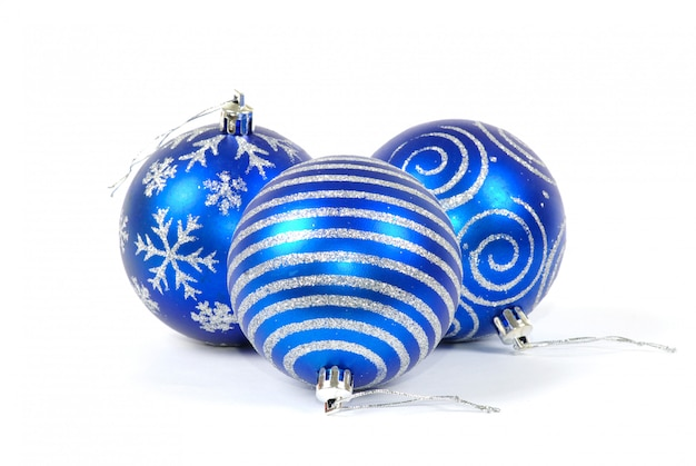 Christmas balls on white isolated