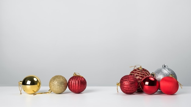 Christmas balls with red on white