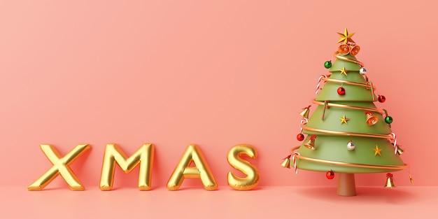 Рождественский баннер фон, елка с золотым рождественским воздушным шаром на розовом фоне, 3d-рендеринг