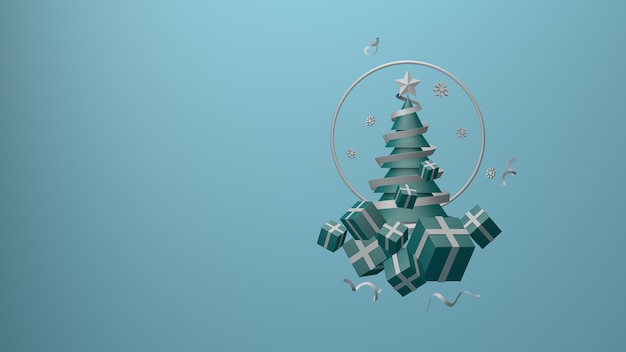 Christmas banner  christmas tree and gift box on blue background 3d rendering 3d render