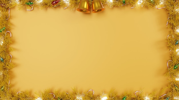 Christmas banner frame with wreath snow text space background and wallpaper