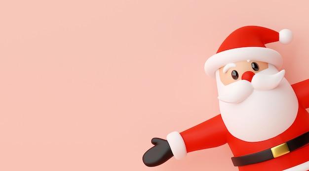 ピンクの背景、3 dレンダリングにサンタクロースのクリスマスバナー