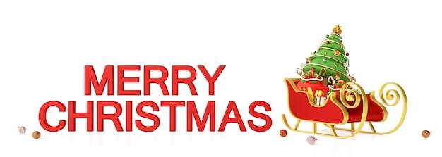 Рождественский баннер саней с текстом с рождеством
