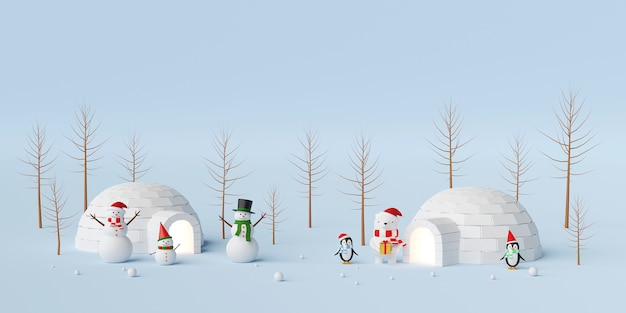 Christmas banner of snowman and friend with igloo