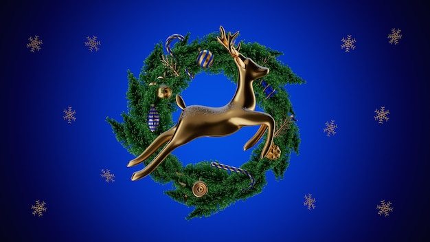 Christmas banner. xmas background with realistic objects, gold metal deer