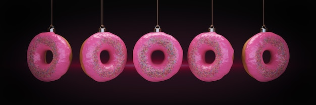 Christmas bauble decoration made of doughnut new year concept 3d rendering