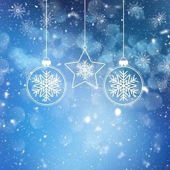 Рождественские блесна на фоне снежинки и звезд