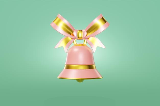 Рождественский колокольчик розового цвета украшен золотой подвесной лентой. изящная игрушка концепция дизайна зеленый фон. элегантный символ нового года. 3d рендеринг