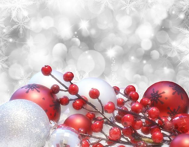 Рождественская открытка с украшениями боке огни и звезды