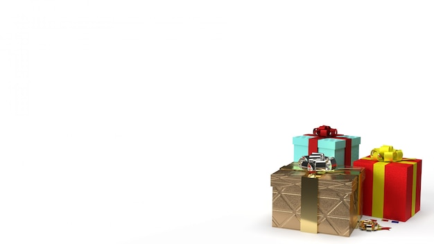 Christmas or birthday colorful gift boxes with ribbons