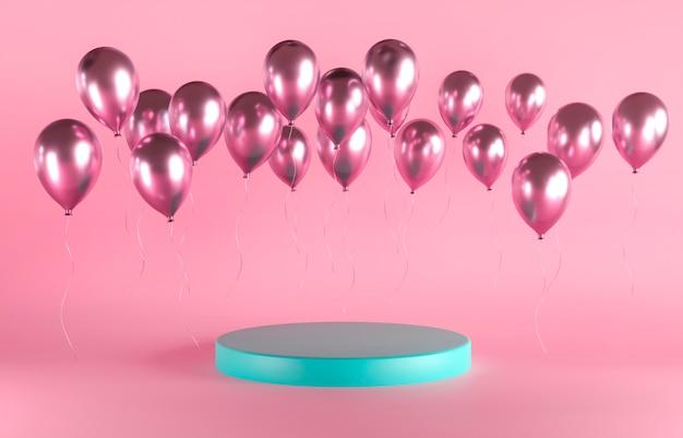 Рождество, день рождения, валентинка с воздушными шарами и пьедесталом на розовом фоне
