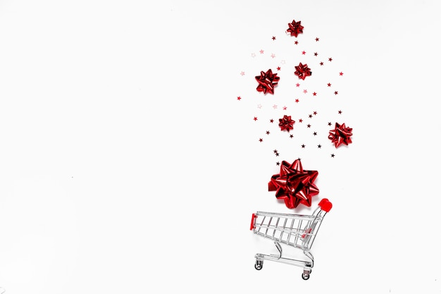 Christmas and black friday concept. top horizontal view copyspace. festive sales background