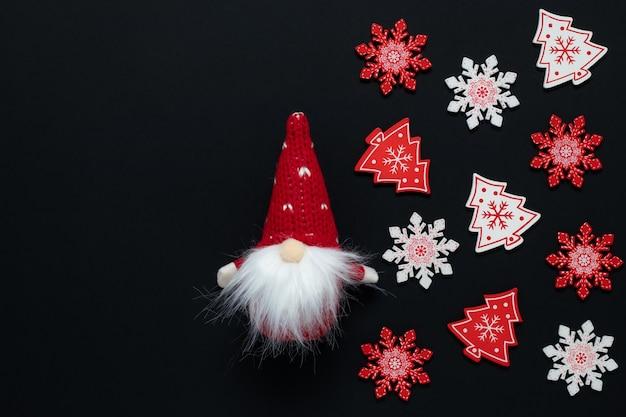 Christmas black mockup, winter decorations on dark