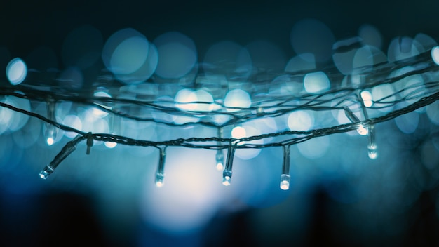 Christmas blue lights bokeh background
