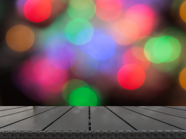 Christmas blurred background with tabletop and space for you.