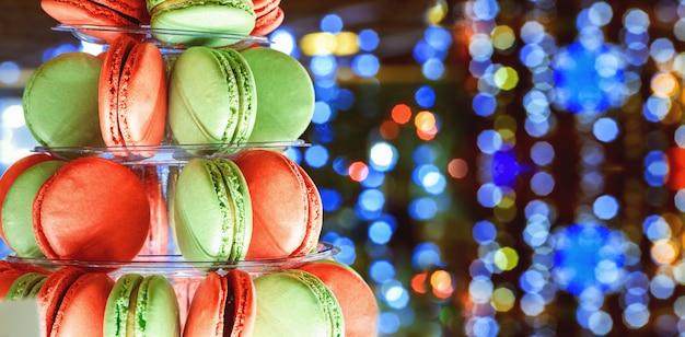 Christmas bokeh ligh colorful macarons tower