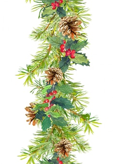 Christmas border - fir tree branches with cones and mistletoe. watercolor strip