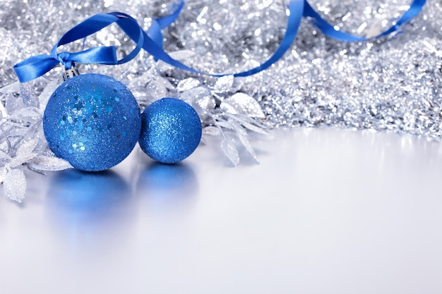 Christmas border with blue balls