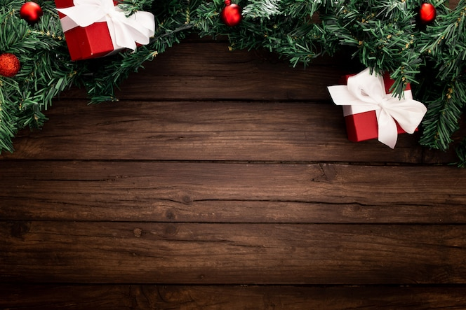 Christmas border on a wooden background