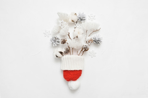 Christmas bouquet of cones with composition of coniferous branches
