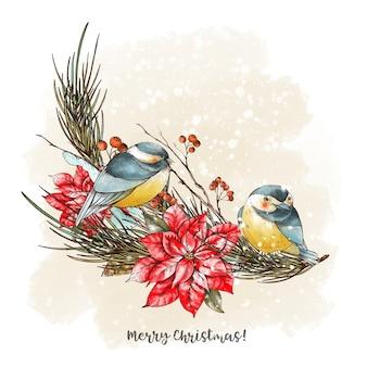 Рождественский букет с еловыми ветками, птицами синичками и цветами пуансеттии. праздники иллюстрация