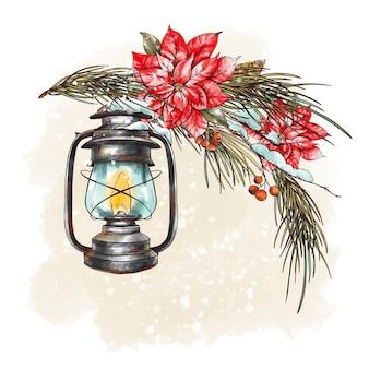 Рождественский букет с еловыми ветками, деревенским фонарем и цветами пуансеттии. праздники иллюстрация