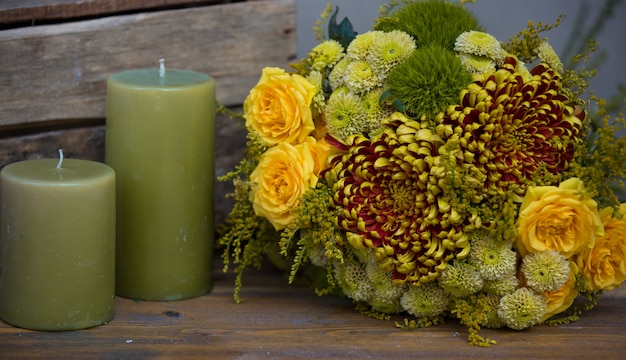 Christmas bouquet with green candles