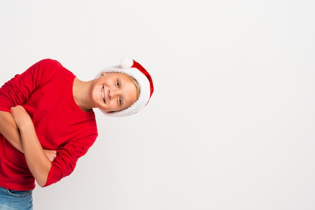 Рождество мальчик в шляпе копией пространства